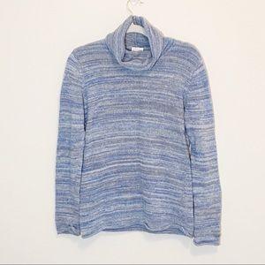 Columbia Blue Gray Striped Cowl Neck Sweater L